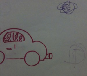 making art with toddlers-adding exhaust smoke to cars