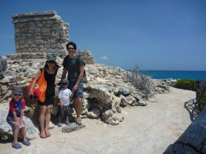 Mayan ruins in Isla Mujeres with kids