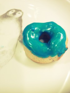 homemade donuts with blue icing