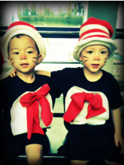 homemade cat in the hat costumes for a family trip to Singapore