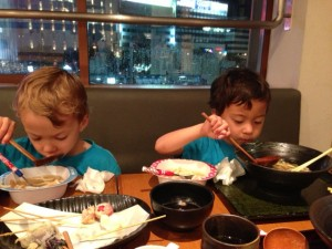 Eating udon in Okayama Japan with little kids