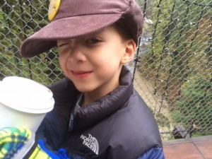 capilano suspension bridge with kids drinking hot chocolate