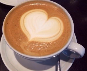 coffee with a heart on top
