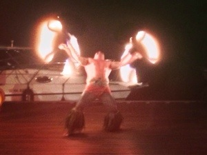 fire show at paradise bay resort