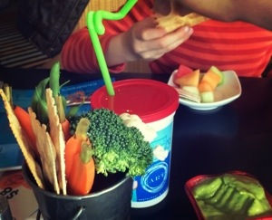crudite instead of bread when eating with kids during restaurant week