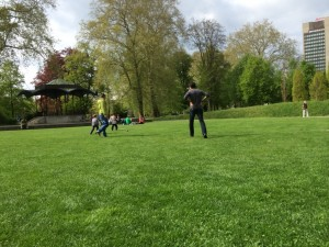 playing soccer in zurich in a park was a great way to just hang out with kids