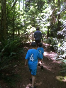 hiking through the forest in discovery park