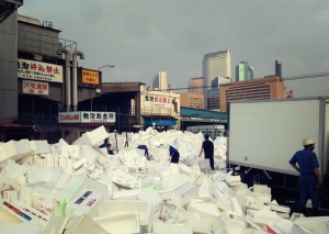 styrofoam mountain at tsukiji market
