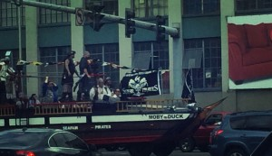 pirate ship stuck in traffic in Seattle