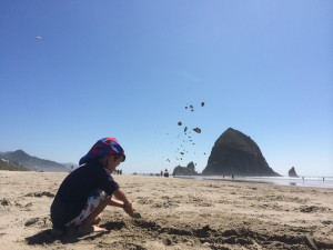 looking for puffins in Cannon Beach with kids