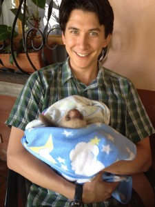 holding a sloth in costa rica