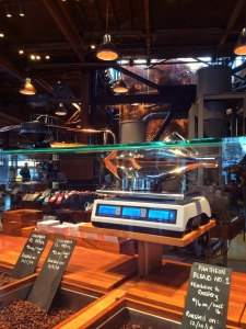 beans like in a candy shop at Starbucks Roastery