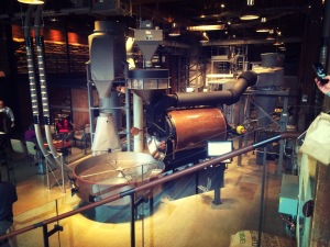 beans are roasting here at Starbucks Roastery