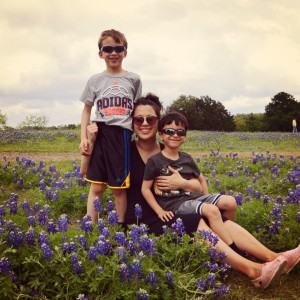 sitting in bluebonnets at Bluebonnet Park