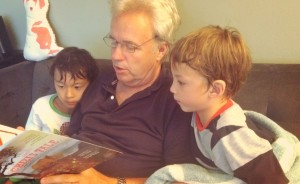 reading Chizi's tale with grandpa