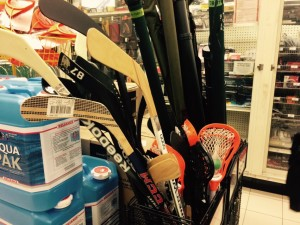 hockey stick bin at Canadian Tire