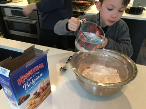 cooking with kids using krusteaz mix