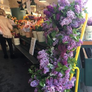 Lilacs in Pike Place Market in April from Alm Hill