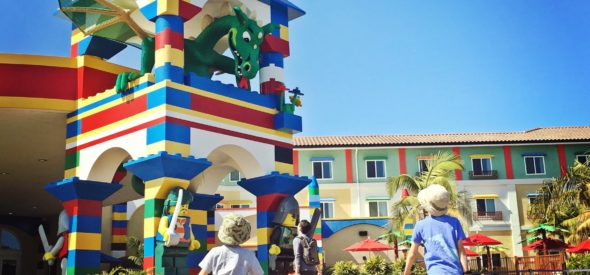 Kids arriving at Legoland hotel
