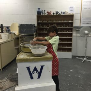 Kids making pottery in the World of Wedgwood Mastercraft Studio in England