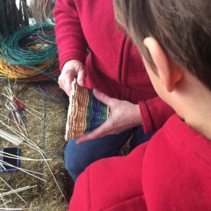 Learning how to weave baskets at Jubilee Farm