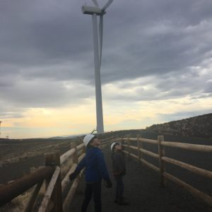 Looking up as the wind turbine gets turned off in Ellensburg