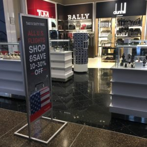 All Us flights can shop Duty Free store at Seatac except for tobacco and alcohol