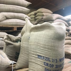 Coffee Bean bags at the Caffe Da'rte Factory