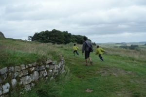 Hadrian's wall on an England trip with kids