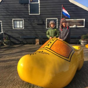 Wooden Shoe Shop in Zaanse Shans with kids