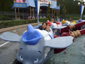 on the dumbo ride with a two year old
