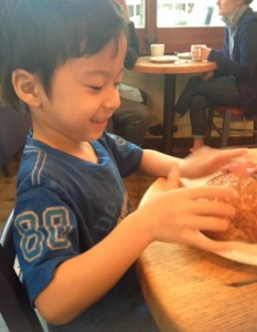 Eating with kids at Ken's Artisan Bakery in Portland