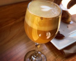 slate coffee serves your latte in stemware and is one of the best espresso stores in Seattle