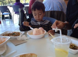 Eating shave ice at Aberdeen center in Richmond BC