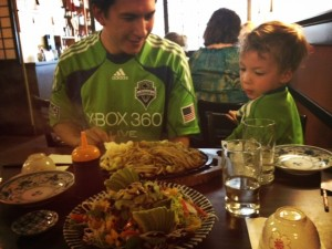 Maneki restaurant in Seattle before a sounders game with kids