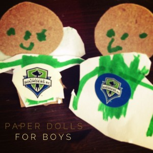 Paper dolls with my boys; a Seattle Sounders soccer craft
