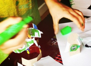 Making a soccer craft with my kids