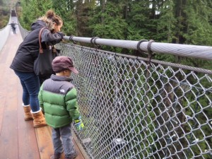 capilano suspension bridge with kids at christmas time