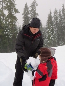 Callaghan Valley Snowshoeing and snowman building with kids