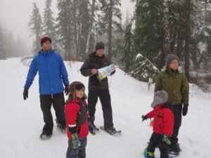 snowshoeing in the Callaghan Valley near Whistler with kids