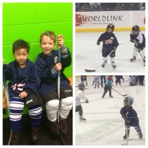 kids playing hockey during intermission for Seattle Thunderbirds