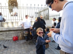 The kids liked trying out their french and buying things with Francs