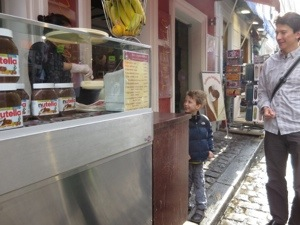 Ordering crepes in Montmartre
