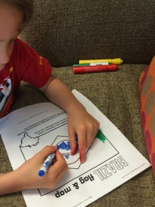 coloring a crayola flag that has facts about the country and a map