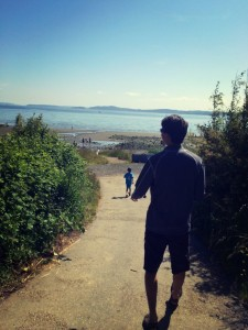hiking to the beach at discovery park