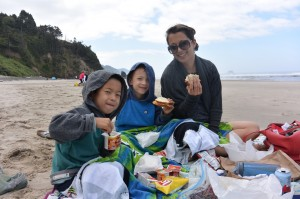 picnic at Hug Point oregon with kids bring sweaters