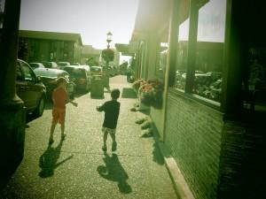 strolling the streets in Seaside Oregon