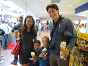 family picture at the Tillamook Cheese Factory