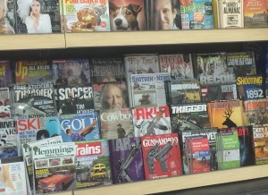 gun magazines on shelf near toys