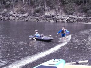 helping out of kayak